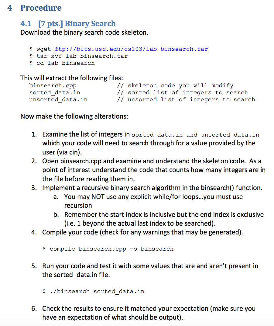 Solved: Download The Binary Search Code Skeleton  $ Wget F