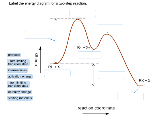 Solved Label The Diagram For A Two Step Reaction Product