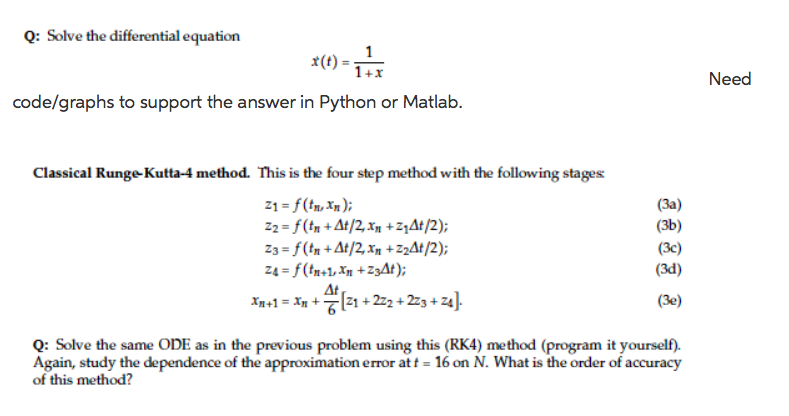 Solved: Q: Solve The Differential Equation 1+x Need Code/g... | Chegg.com