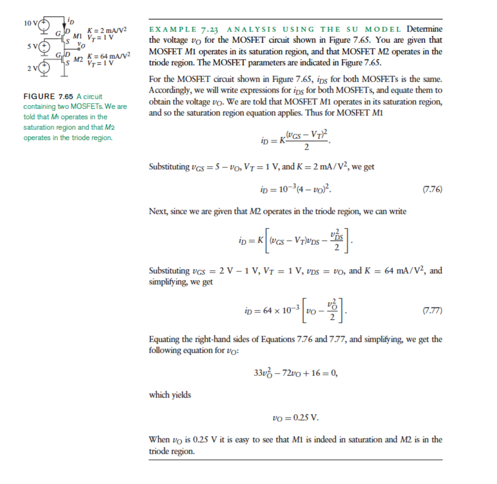 Solved V 100 K 2 Mavv2 Example 7 23 Analysis Using The Su Mosfet Circuit Examples Question Model Determine Mi 1 Voltage Vo For T