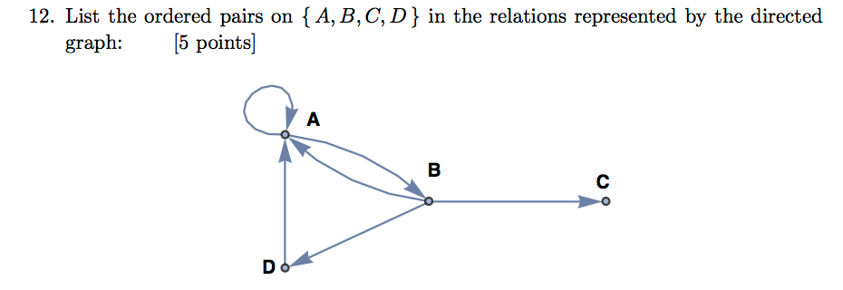 12. List the ordered pairs on A, B, C, D [5 points] in the relations represented by the directed graph: