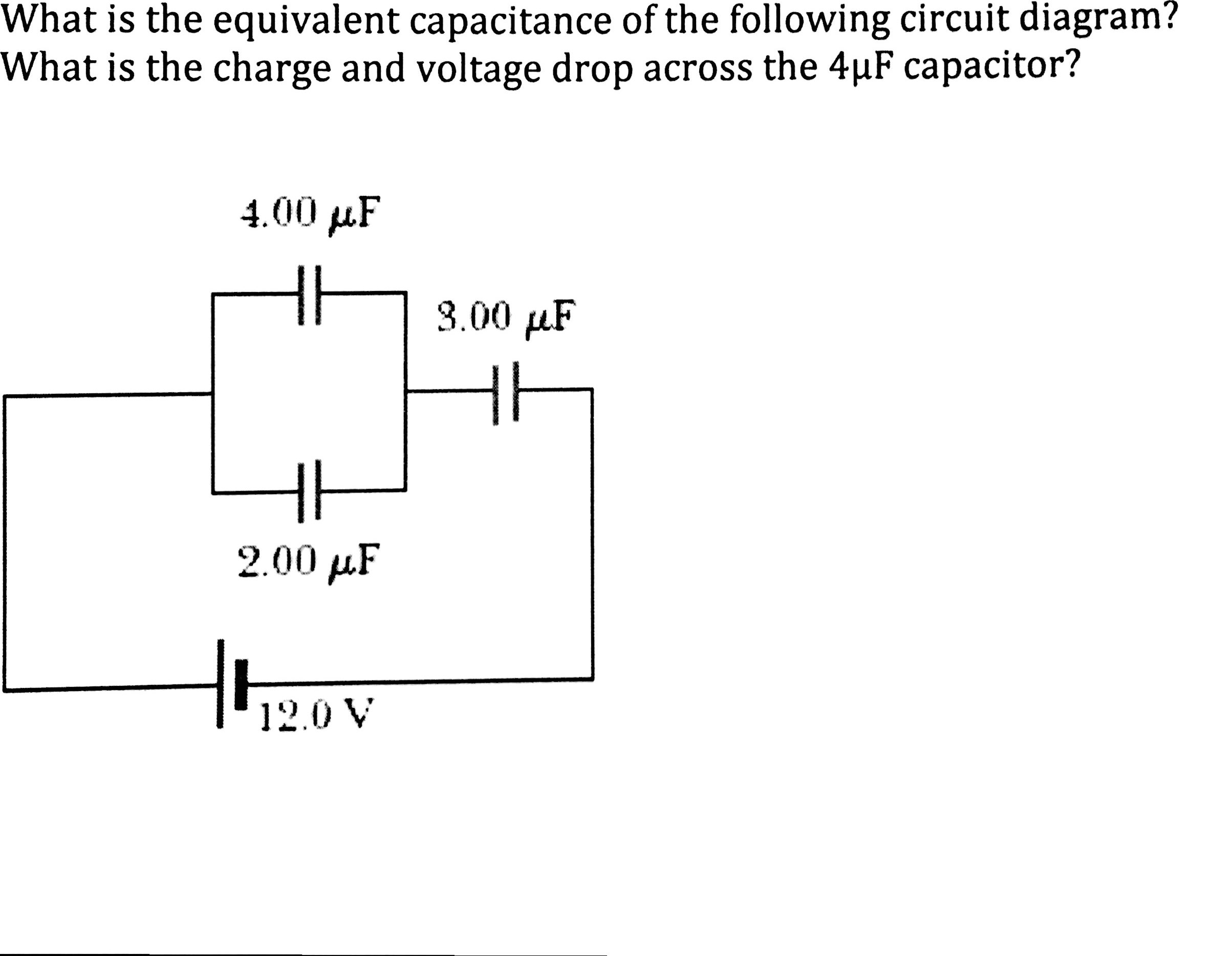image for what is the equivalent capacitance of the following circuit  diagram? what is the