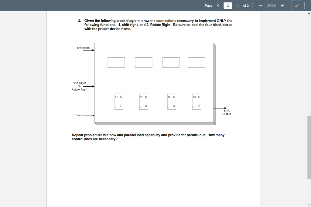 Solved Page Of 2 Zoom 3 Given The Following Block Diagr