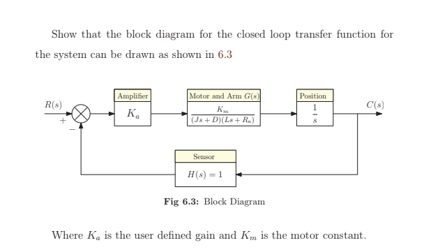 solved show that the block diagram for the closed loop tr Arm Block Procedure