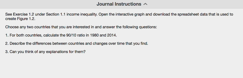 journal instructions see exercise 12 under section 11 income inequality open the interactive graph and