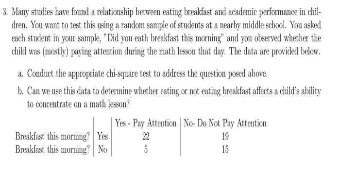 relationship between breakfast and academic performance The effects of skipping breakfast on the academic performance 2 abstract this study investigates the effects of skipping breakfast on the academic performance among students in centre for foundation studies, international islamic university malaysia (cfs iium.
