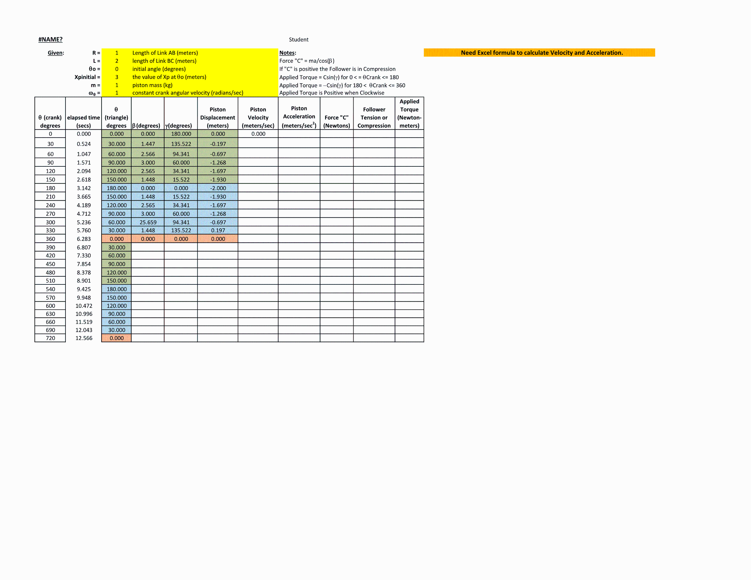 Need Excel Formula To Calculate Velocity And Accel