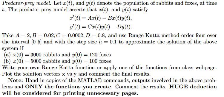 Predator-prey Model  Let X(t), And Y(t) Denote The