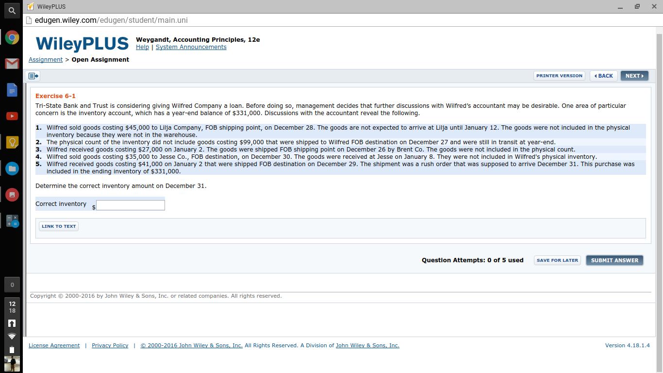 Question: WileyPLUS edugen.wiley.com/edugen/student/main.uni Weygandt, Accounting  Principles, 12e Help | Sy.