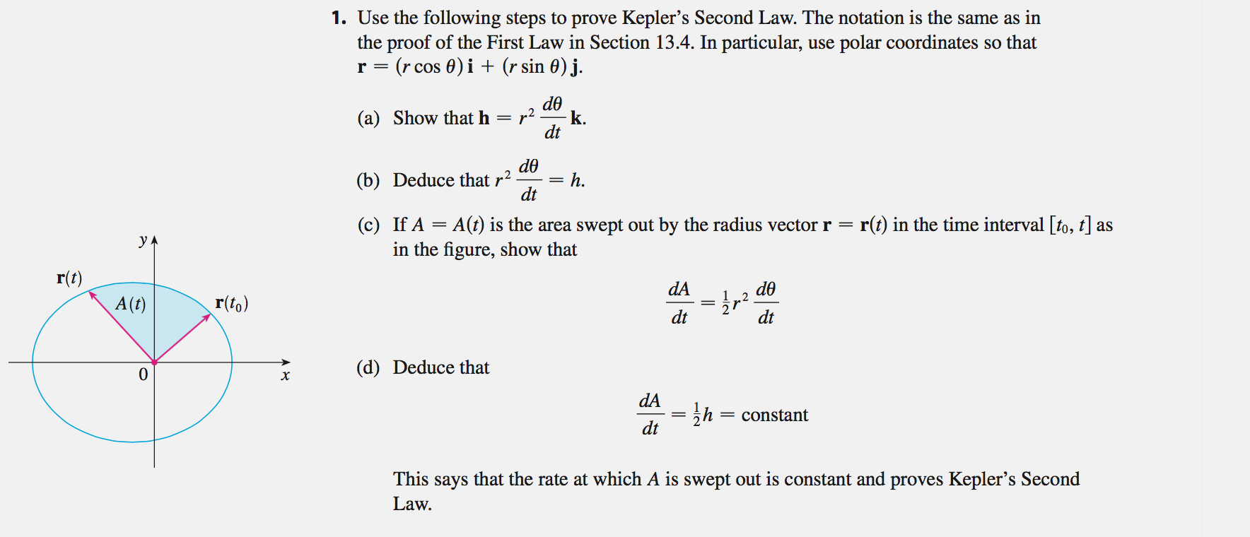 solved use the following steps to prove kepler s second l