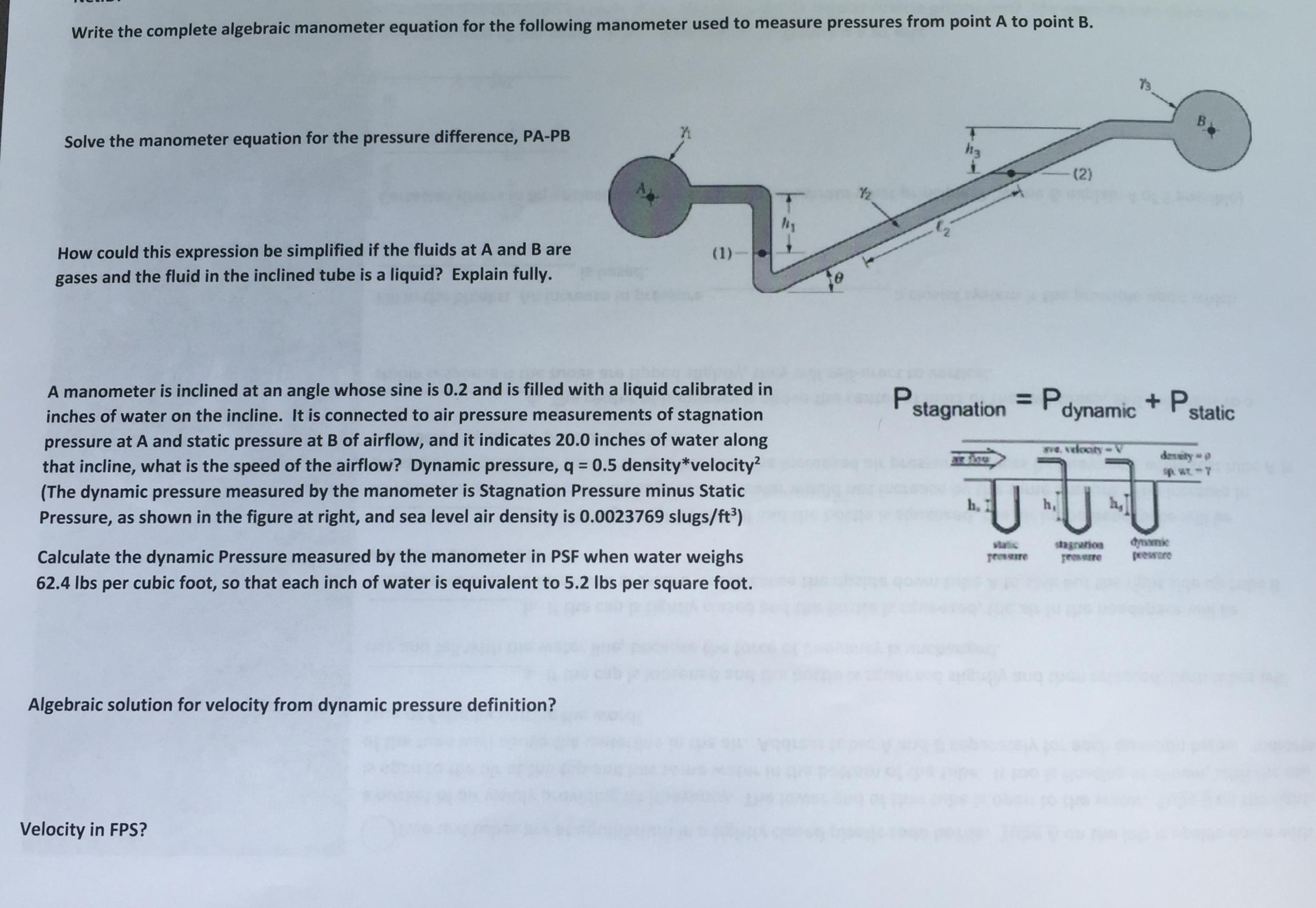 Write The Complete Algebraic Manometer Equation Fo... | Chegg.com