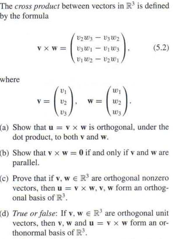 Solved The Cross Product Between Vectors In Ir3 Is Define