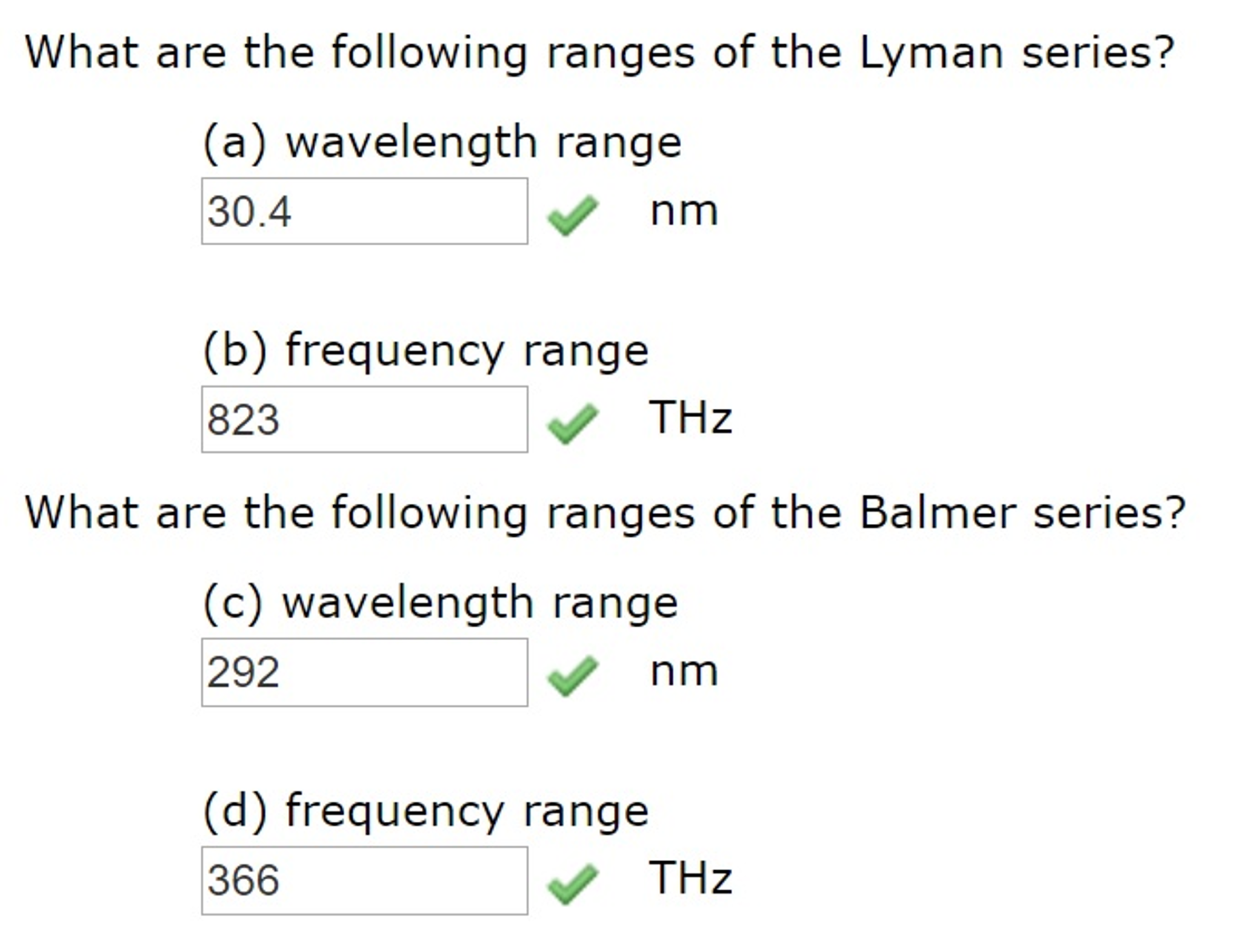 Solved: What Are The Following Ranges Of The Lyman Series