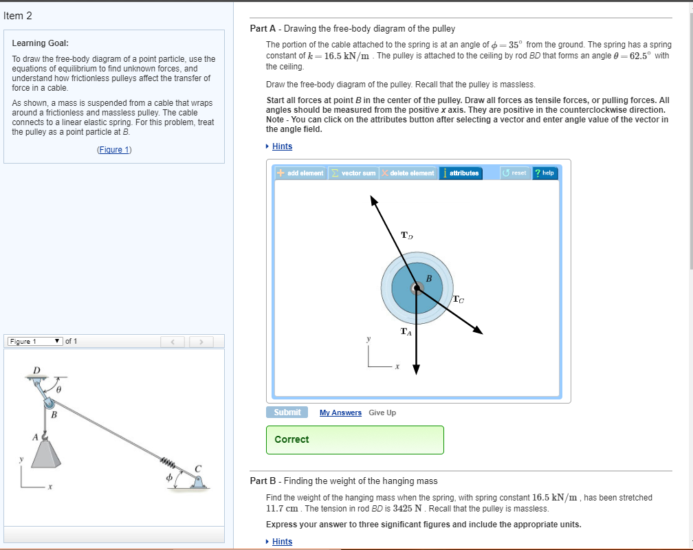 Solved Item 2 Part A Drawing The Free Body Diagram Of Pulley Learning Goal