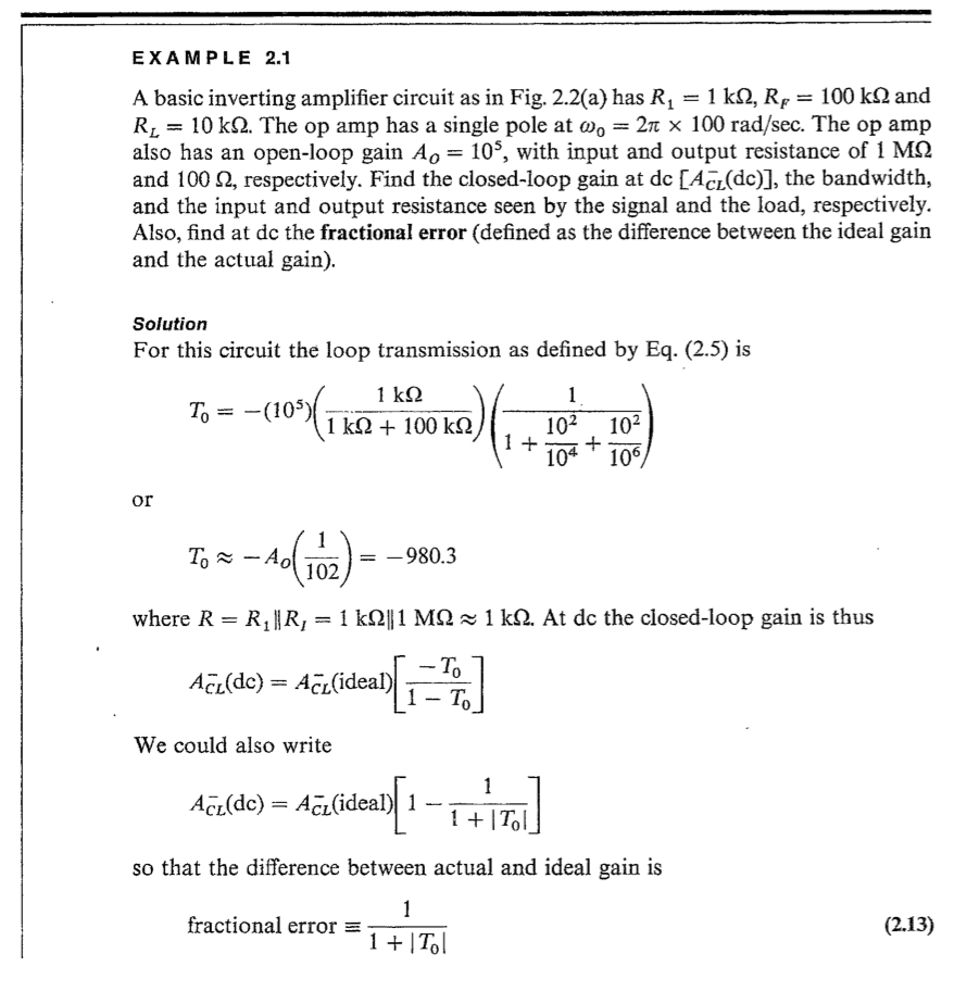 Electrical engineering archive september 25 2017 chegg 22 using the same op amp parameters as example 21 find the closed loop bandwidth input and output resistance and fractional error for r1 10 k and fandeluxe Image collections