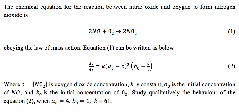 Solved The Chemical Equation For The Reaction Between Nit