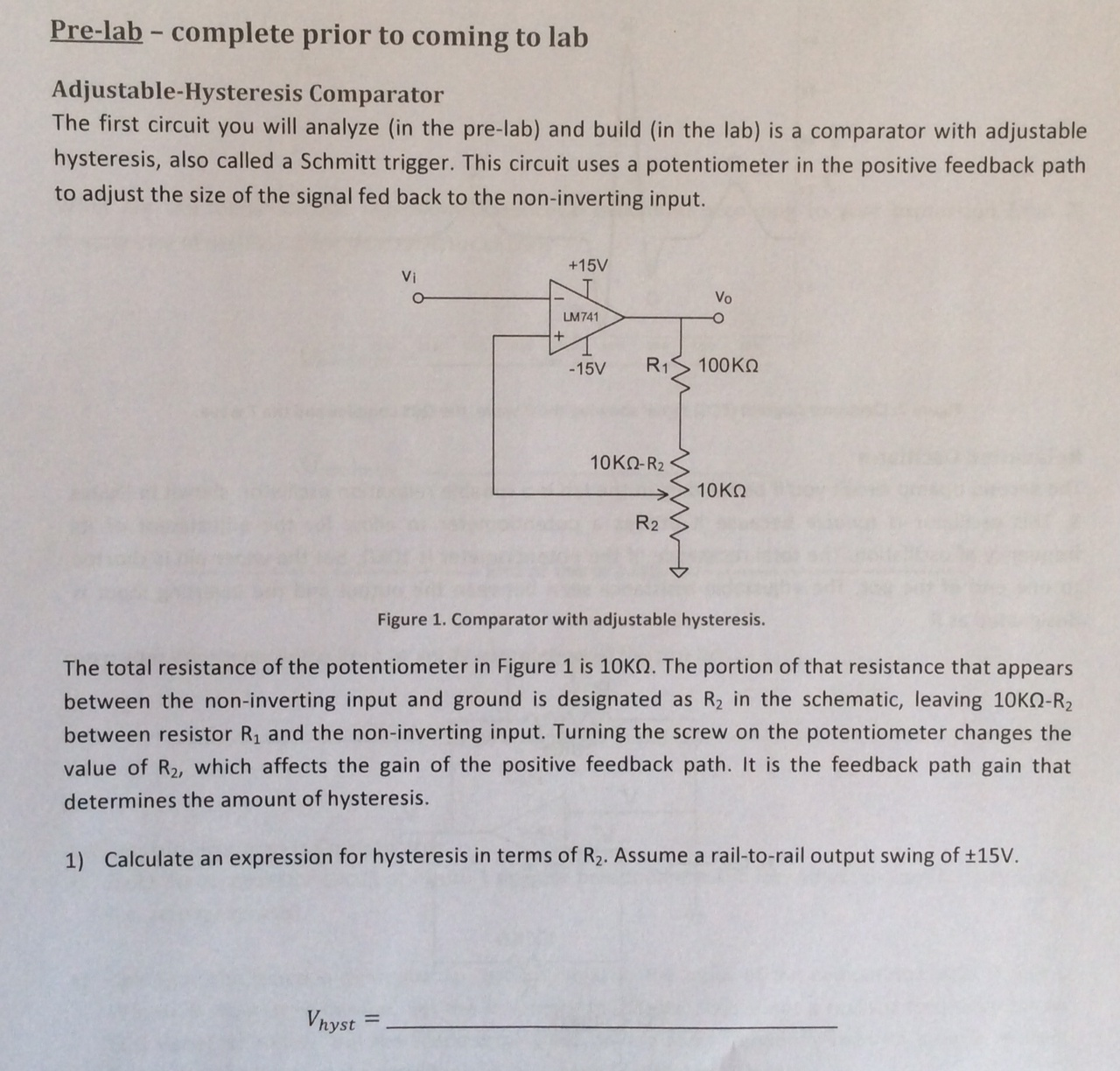 When You Build This Circuit In The Lab Youll Use Comparator With Hysteresis Characteristics Schmitt Trigger