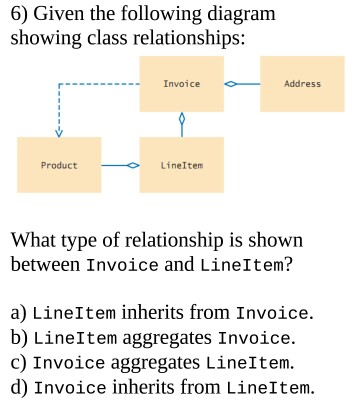 Solved 6 given the following diagram showing class relat 6 given the following diagram showing class relationships invoice address product ccuart Images