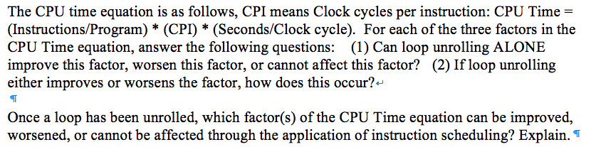 Solved The Cpu Time Equation Is As Follows Cpi Means Clo