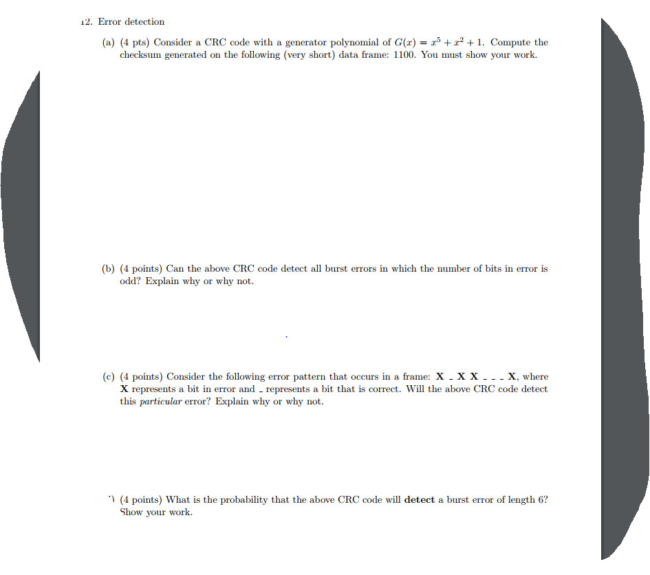 Solved: 12  Error Detection (a) (4 Pts) Consider A CRC Cod