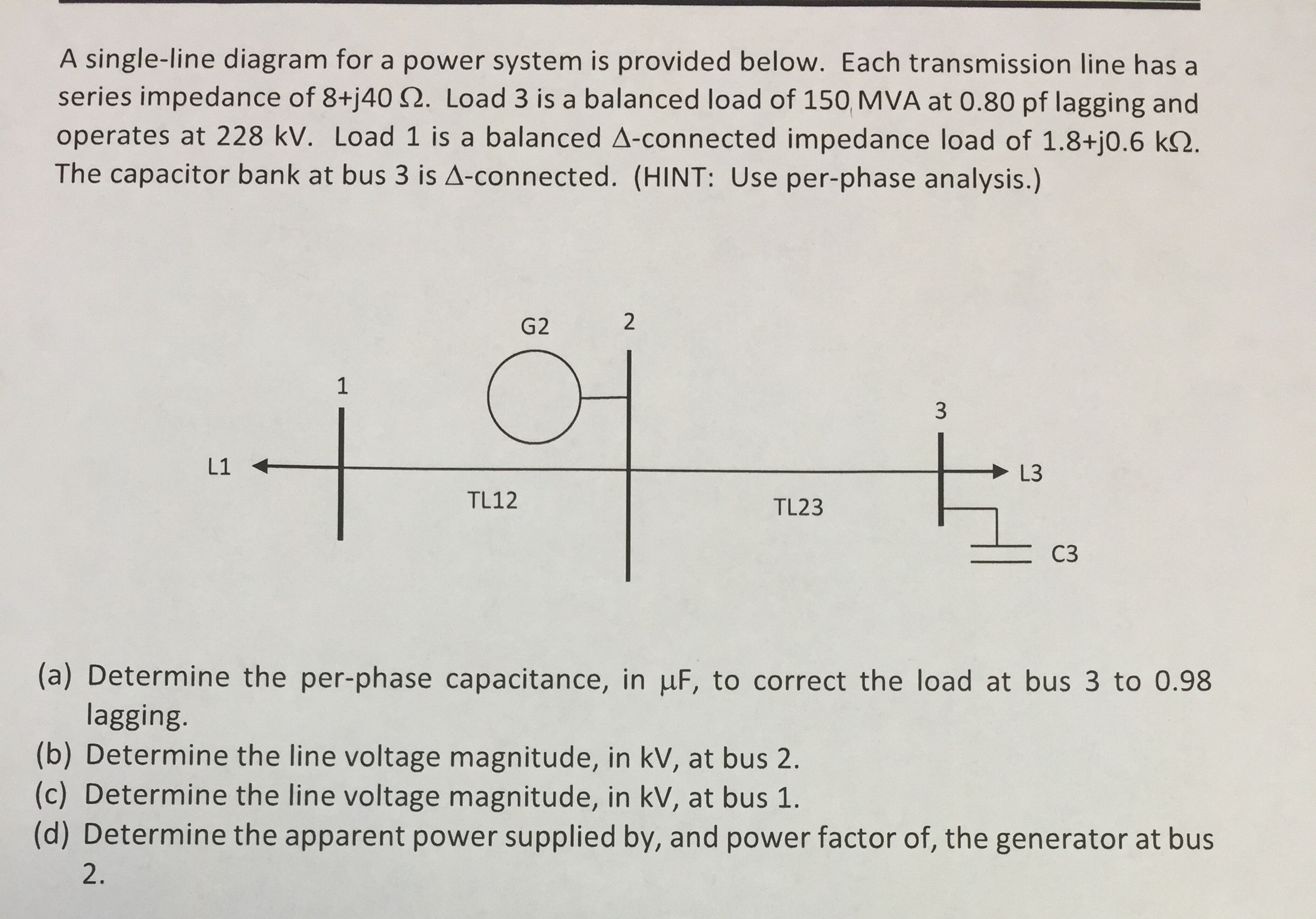 Solved A Single Line Diagram For A Power System Is Provid