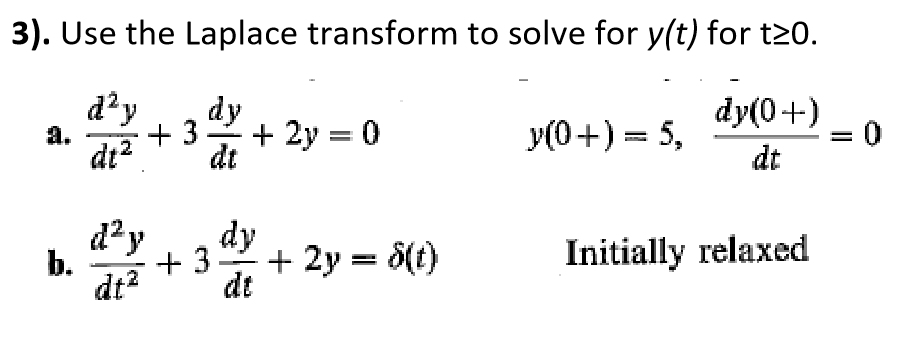 3). Use the Laplace transform to solve for y(t) for t20. y(0 +) = 5, dt dt dt Initially relaxed dtdt