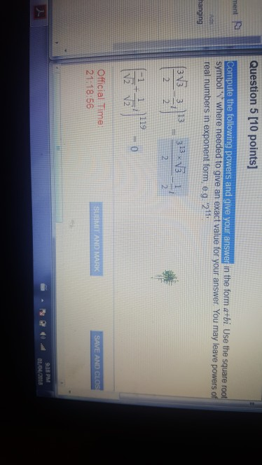 Solved Question 5 10 Points Compute The Following Power