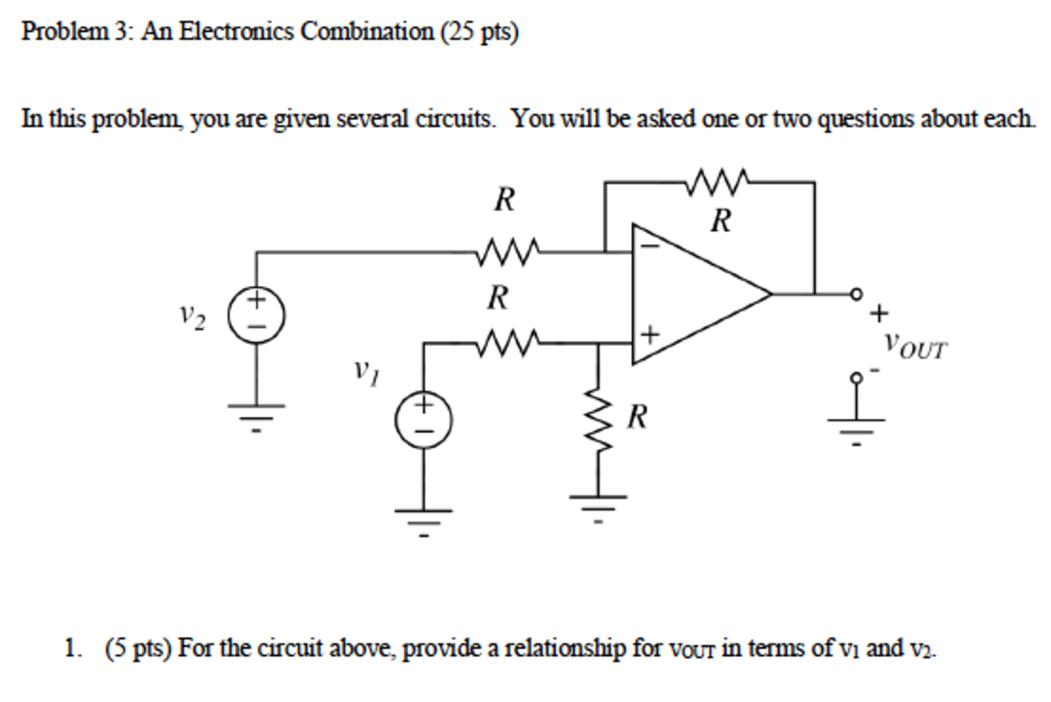 Solved An Electronics Combination In This Problem You Are Circuits For Ar