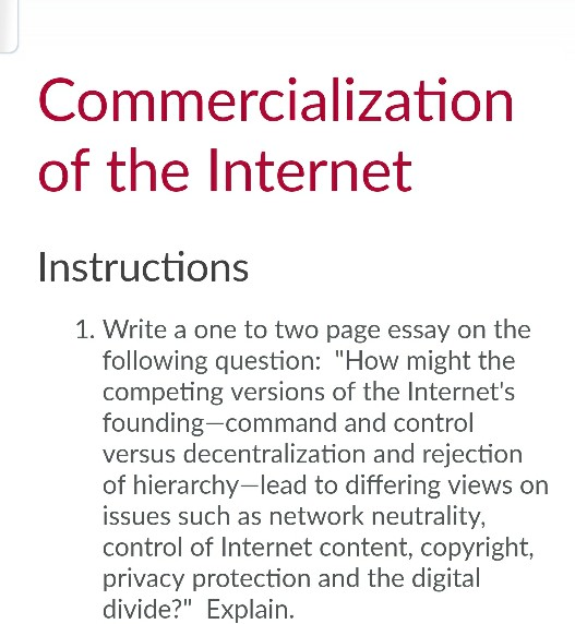 Online Copywriting Commercialization Of The Internet Instructions  Write A One To Two Page Essay  On The Argument Essay Topics For High School also Online Academic Assistance Companies Solved Commercialization Of The Internet Instructions   English Essays On Different Topics