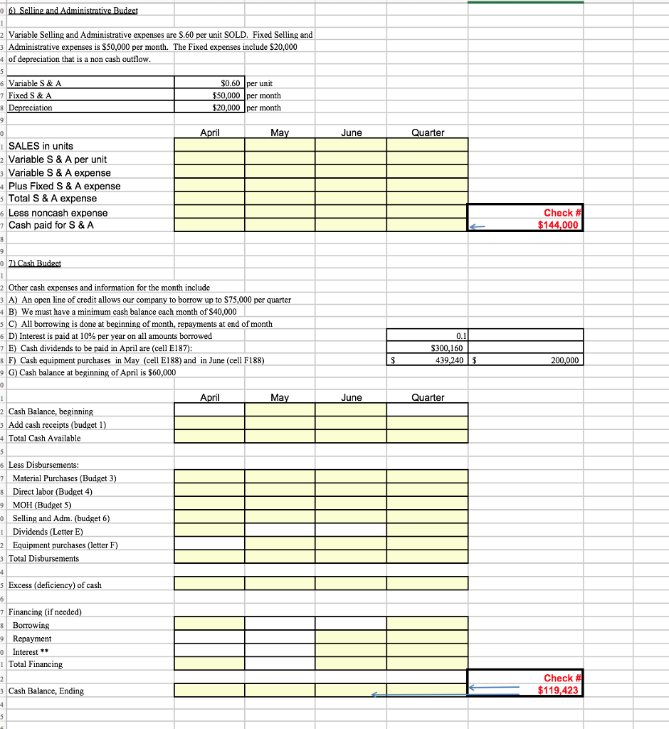 managerial accounting chapter 9 budget excel spre chegg com