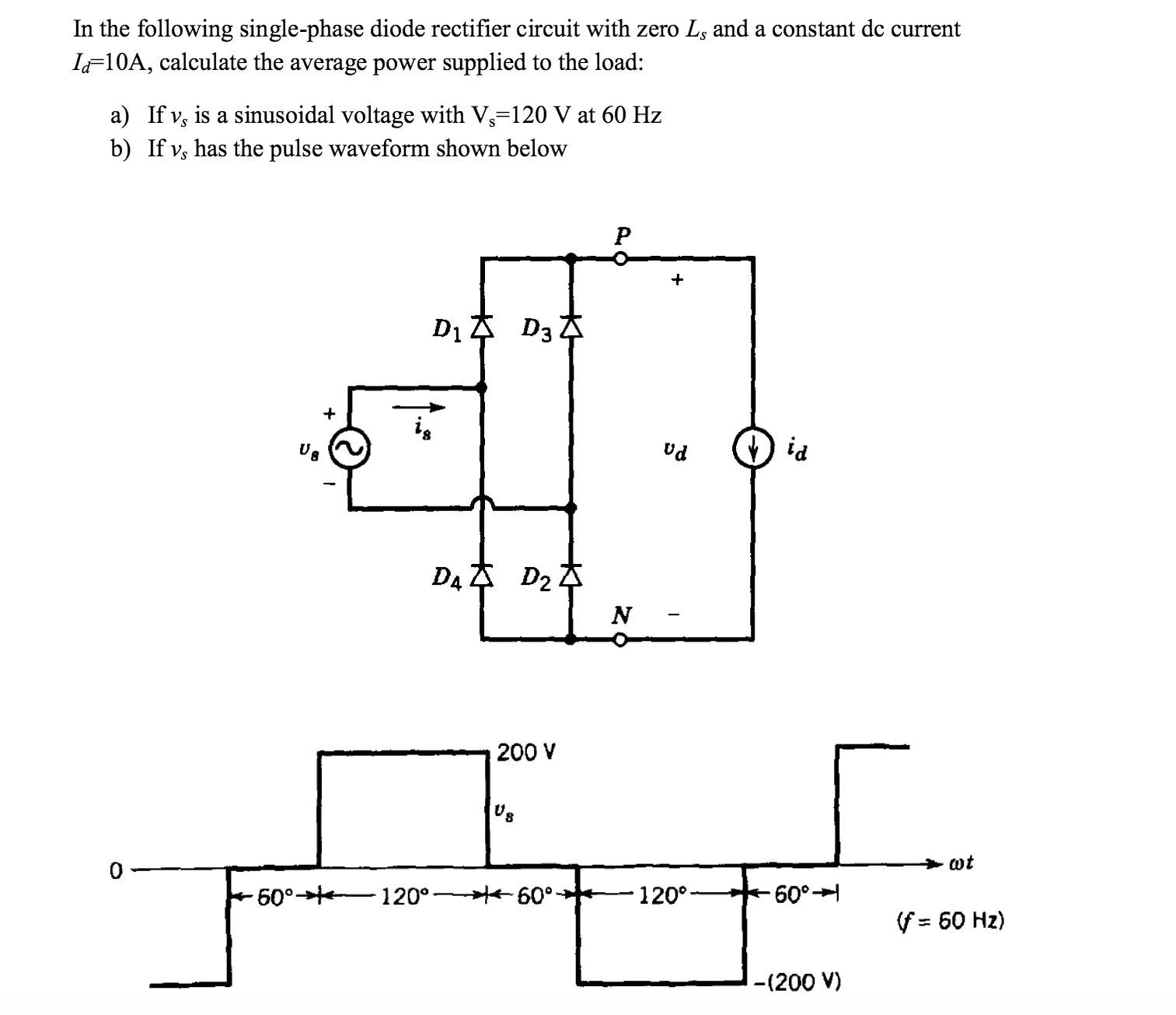 In the following single-phase diode rectifier circ