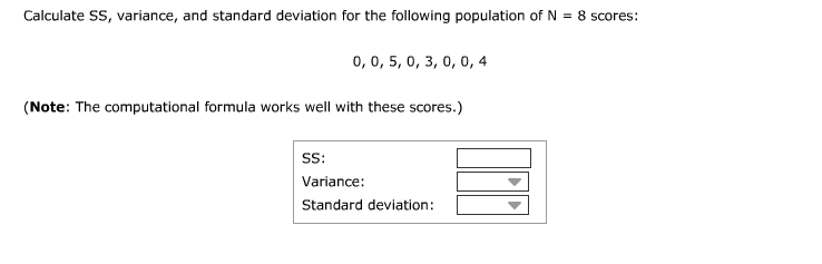 Solved Calculate Ss Variance And Standard Deviation For