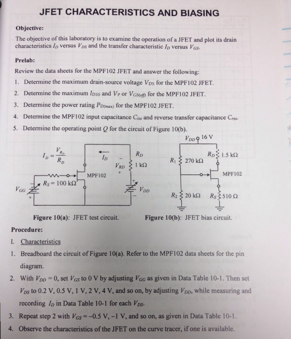 Solved Jfet Characteristics And Biasing Objective The Ob Fet O