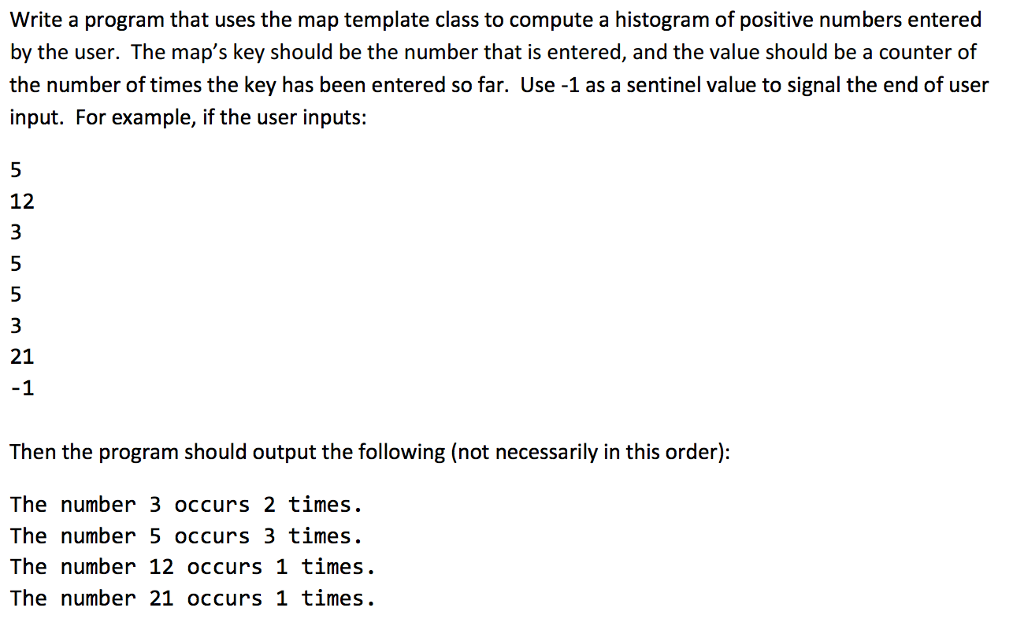 Solved: Write A Program That Uses The Map Template Class T ...