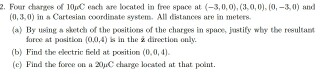 Four charges of 10 mu C each are located in free