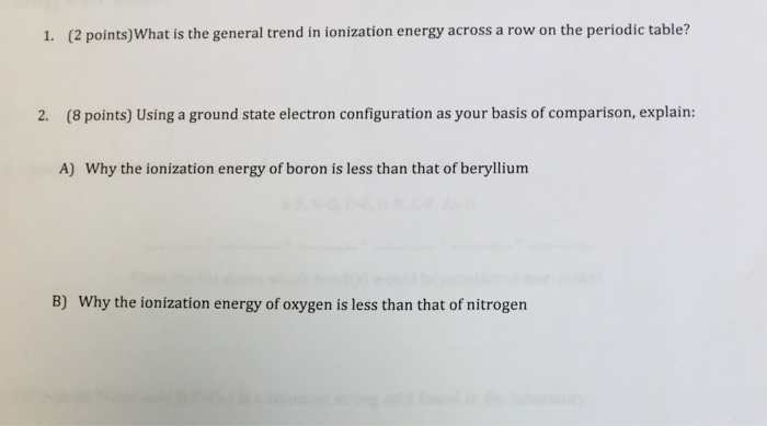general trend of ionization energy