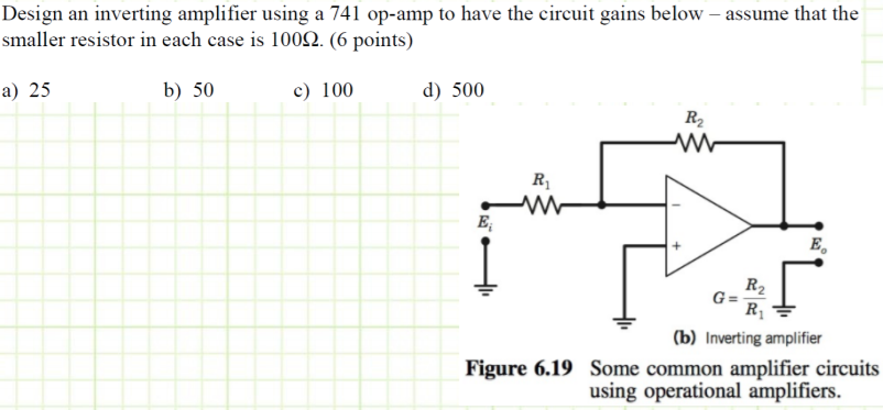 Solved: Design An Inverting Amplifier Using A 741 Op-amp T ...