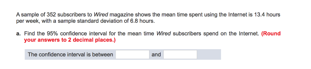 Solved: A Sample Of 352 Subscribers To Wired Magazine Show ...