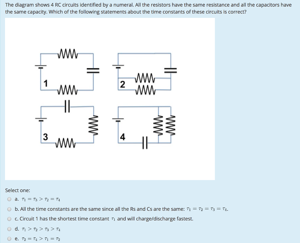 Solved The Diagram Shows 4 Rc Circuits Identified By A Nu Capacitor Charging And Discharging Circuit Question Numeral All Resistors Have Same Resistan