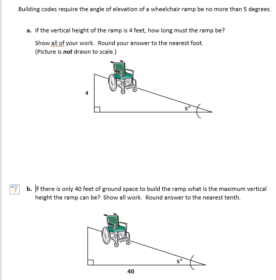 Building codes require the angle of elevation of a wheelchair r& be no more than 5  sc 1 st  Chegg & Solved: Building Codes Require The Angle Of Elevation Of A ...