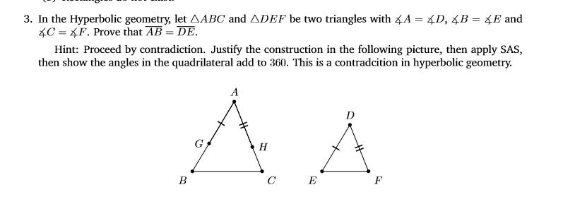 Solved: 3  In The Hyperbolic Geometry, Let ?ABC And ?DEF B
