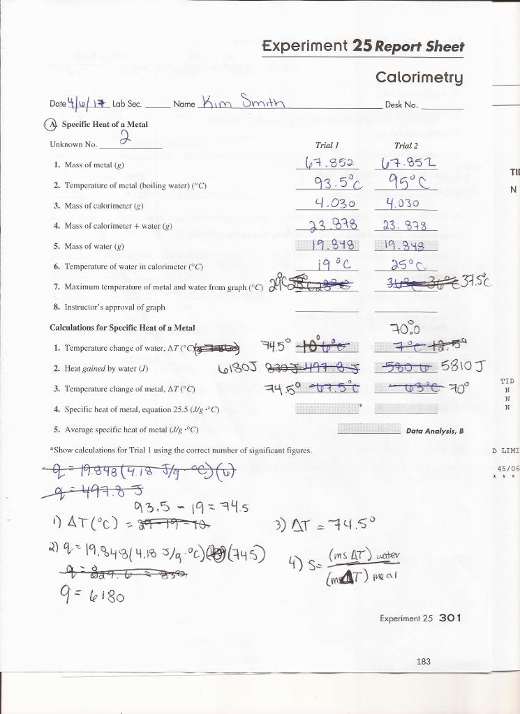 Solved: Experiment 25 Report Sheet Calorimetry Lab Sec Nam ...