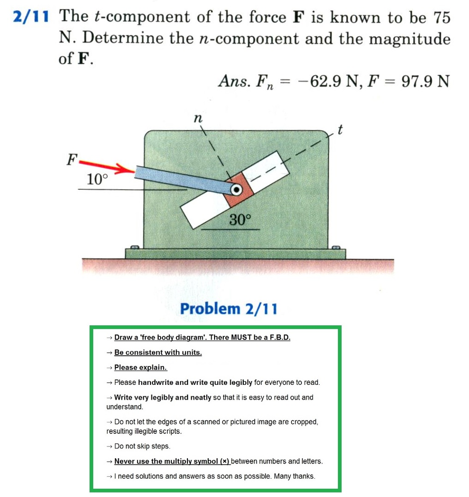 Solved 2 11 The T Component Of Force F Is Known To Be Freebody Diagram A Simple With Arrows Represent 75