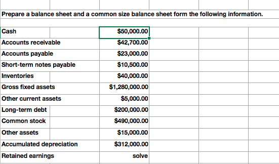 Solved: Prepare A Balance Sheet And A Common Size Balance ...