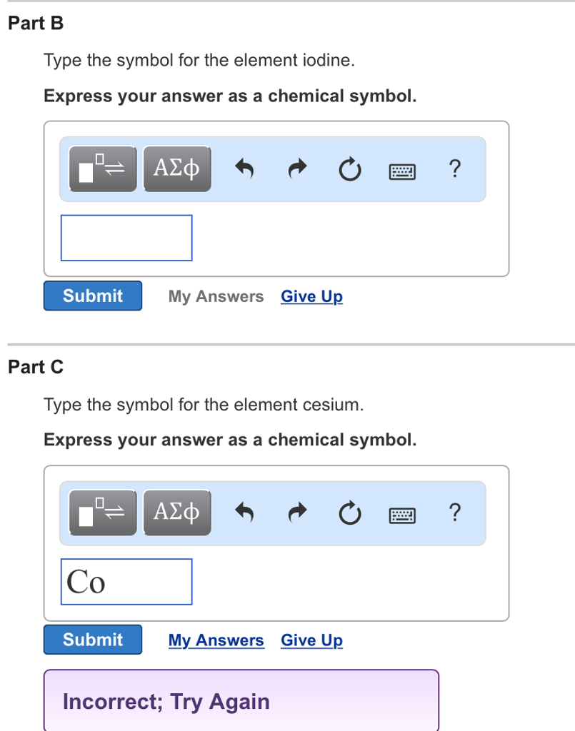 Chemistry archive july 24 2017 chegg part b type the symbol for the element iodine express your answer as a chemical biocorpaavc Choice Image