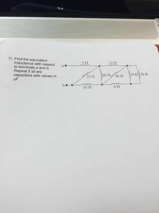 Find the equivalent inductance with respect to ter