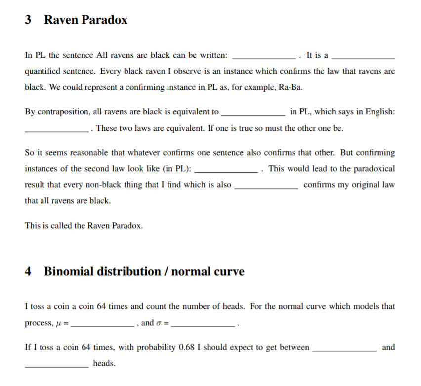 Solved 3 Raven Paradox In Pl The Sentence All Ravens Are