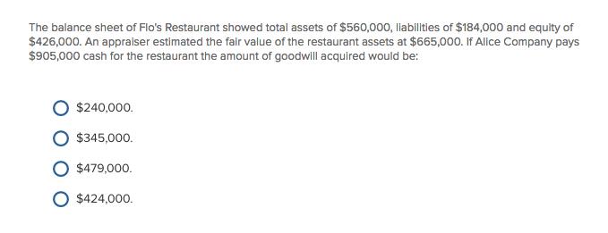 solved the balance sheet of flo s restaurant showed total