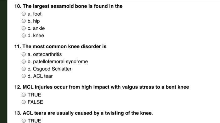 Solved: ORTHOTICS COURSE- LOWER ANATOMY TEST QUESTIONS Ple ...