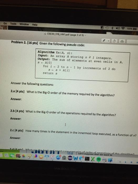 Solved: Go Tools Window Help 100% CSE30 S16 HW1 pdf (page